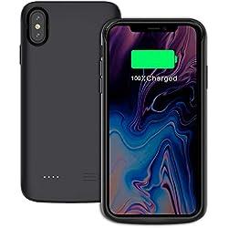 """Coque Batterie iPhone XS Max, 6000mAh Rechargeable Coque avec Batterie, Externe Chargeur Portable Power Bank Battery Case Antichoc Housse de Protection pour iPhone XS Max 6.5"""" (Noir, 6000mAh)"""