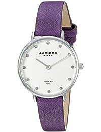 Akribos XXIV Reloj con movimiento japonés Akribos Xxiv Women'S Ak882 Round Silver Dial Two Hand Quarz Strap Watch  30  mm