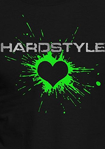Hardstyle / Herz / Musik / in 3 Neon Farben / Größe XS-5XL / Ideales Geschenk / Premium T-Shirt Neon Grün