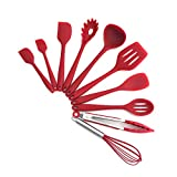 TFENG 10 Stücke Kochgeschirr Sets, Edelstahl und Silikon Schöpflöffel Kochen Besteck,Rot
