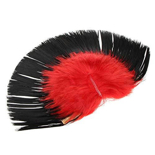 D DOLITY Mehrfarbig Rock Punk Perücke Mohawk Irokese Perücke, Einheitsgröße für Alle - Schwarz und Rot
