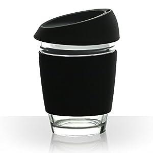 Reusable 12 oz Glass Coffee Cup with Food Grade Silicone Lid Eco Friendly Ecoffee Travel Mug for Coffee and Tea