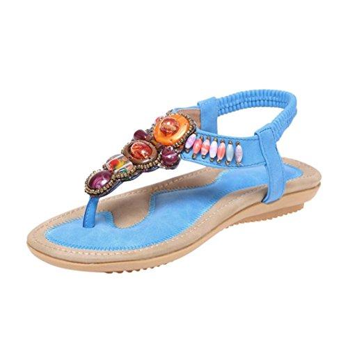 UFACE Damen Flache Sandalen Im Bohemian Style Frauen Sommer Bohemia Leder Peep-Toe Schuhe Casual Ethnischen (38, Blau) (Moderne Ethnischen Kostüm)