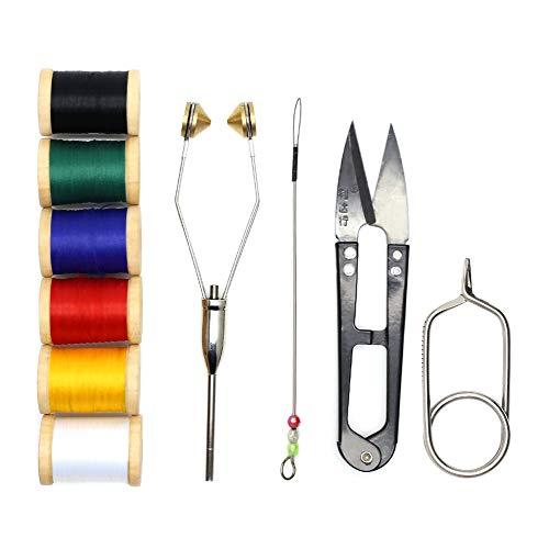 YZD 10 IN 1 Bindewerkzeuge Fliegenbinden Bobbins Werkzeuge Super Glatte Bobbins mit Fadenzubehör Fliegenbinderwerkzeug Faden Fliegenfischen Fliegenbinden Locken Zubehör (10 IN 1 Bindewerkzeuge)