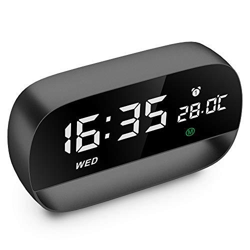 szdavsi LED Digital Alarma Inteligente Despertador Reloj 3 Sonidos de Alarma con USB Puertos de Carga Función Snooze Fecha Pantalla de Temperatura Calendario para Dormitorio Oficina Cocina (Negro)