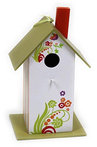 Buntes Vogelfutterhaus aus Holz / Grün / 25 x 12 x 14 cm / Nistkasten