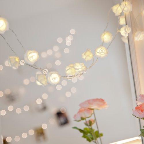 20er LED Rosen Lichterkette warmweiß batteriebetrieben Lights4fun - 6