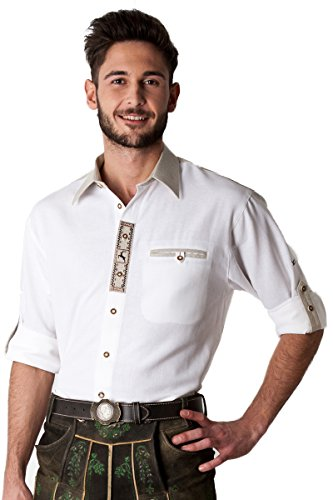 Ludwig und Therese Herren Trachtenhemd Erik, weiß beige H040023 38