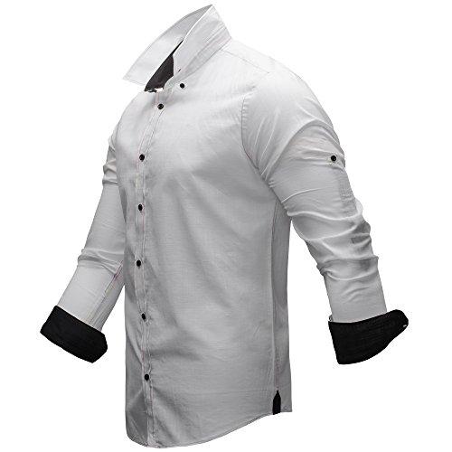 Merish Herren Hemd Leinen Leinenhemd Sommerhemd Freizeithemd 2 Farben S-XXL 113 Weiß