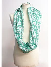 Elvis Jade Green Infinity Scarf Jersey OR Chiffon Unisex Printed Loop Fashion Scarves
