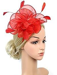 dressfan Copricapo della fascia della clip di capelli del fiore di  Fascinator della piuma di modo 74011cd247e7