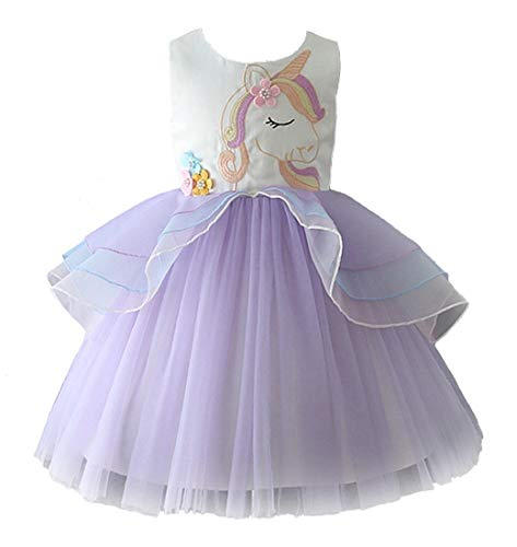 4a54efc279 FREEFLY Kids Girls Unicorn Party Fancy Dress Rainbow Skirt for Festival  Performance Birthday Wedding Carnival Halloween