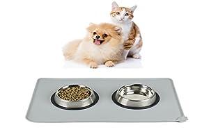 Tapis d'Alimentation pour animaux, AUKO aliments pour animaux Pet Gamelle pour chiens et chats, Silicone aux normes FDA de première qualité, Taille 47cm x 30cm (Gris )