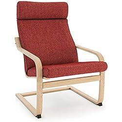 Masters of Covers - Housse de rechange de fauteuil Poäng d'Ikea, Coton Polyester, Tetron Cotton - Red, Cushion Design 1