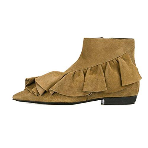 Damenschuhe Pumps Spitze Zehen Fellsamt Fransen Flach Knöchel Schuhe Kamel