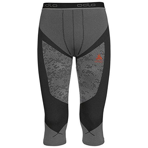 Odlo Herren Pants 3/4 Blackcomb Evolution WARM Unterhose Black Concrete Grey/Orangeade, S