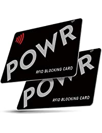 RFID/NFC Signal Blocking Cards (2 Pack) by POWR | Contactless Card Protection for Your Wallet or Purse