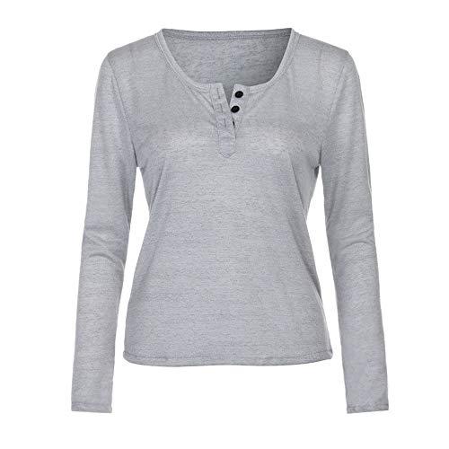 UYSDF Frauen Casual Strickbluse Langarm Solide V-Ausschnitt T-Shirt Tops ()