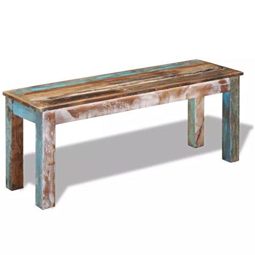 SHENGFENG Sitzbank massives Recycling Holz Hausbank komplett handgefertigt 110x35x45 cm