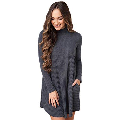YiJee Maglione Knit da Donna Abito Casuale Invernale Sweater Manica Lunga Buio Grigio