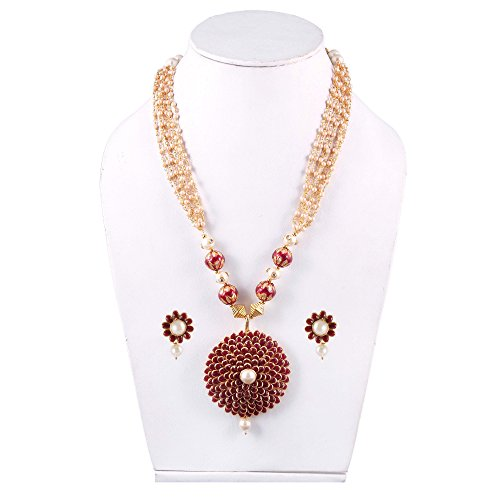 SIMAYA FASHIONISTA Maroon Pearl Necklace Set with Earrings for Women