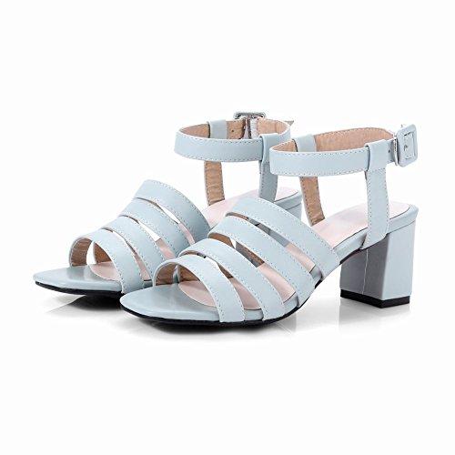 Mee Shoes Damen süß open toe Schnalle chunky heels Sandalen Blau