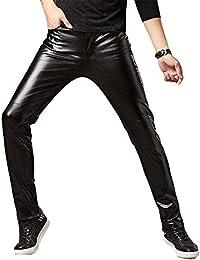 d04a0b00ab Pantalons De PU Leather para Hombre Pantalones De Cuero Slim Fit Moto  Steampunk Hip Hop Biker