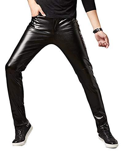 Pantalons De PU Leather para Hombre Pantalones De Cuero Slim Fit...