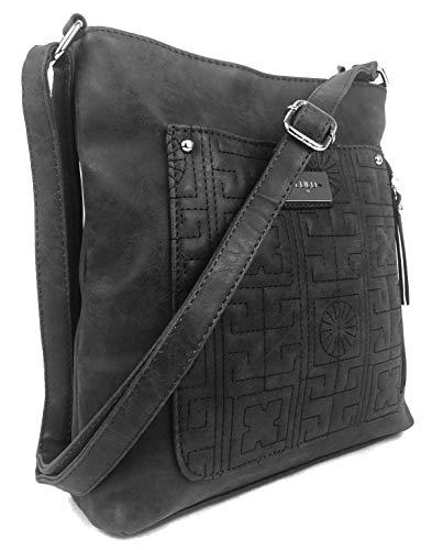 Savvy Street Designer-Handtaschen für Damen, mittelgroß, aus hochwertigem, mattiertem Kunstleder, veganes Design Matte Black (On Grab Griffe)