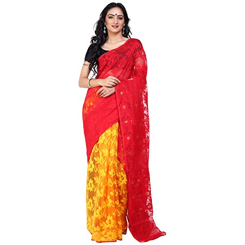 Tanya Red and Yellow Soft Muslin Jamdani Half and Half Saree