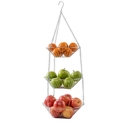 Hängekorb Set 3-tlg. - Körbe 19.5, 22,5 und 25 cm - Obst- und Gemüseampel mit 3 Ablagekörben