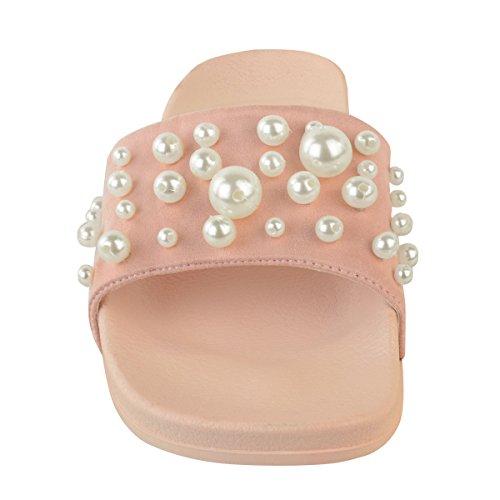Scarpe basse da donna passanti COMODO PERLA Pantofola FERMACAPELLI Sandali Taglia Scarpe estative ROSA PASTELLO camoscio sintetico / perla finta