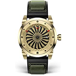 ZINVO Blade Gold - Reloj de pulsera para hombre con movimiento automático, correa de piel negra y carcasa de acero inoxidable