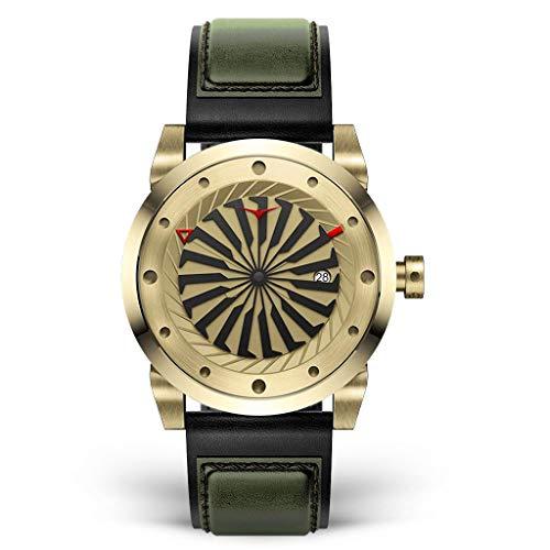Zinvo Herren Uhr Automatik Analog Edelstahl Gold Leder Gold