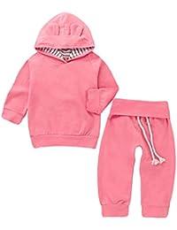 Happy-day Ropa para bebés,Ropa para niños,Bebés recién Nacidos niñas Sudadera con Capucha sólida Orejas de Dibujos Animados Tops + Pantalones Conjuntos de Ropa
