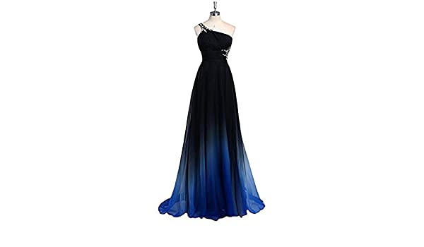 Angelbridal Womens Long Chiffon Prom Dresses One Shoulder Evening Gown PR008: Amazon.co.uk: Clothing