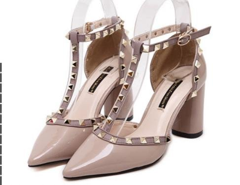 GS~LY Boucle chunky talons chaussures asakuchi rivet pointu talons hauts des femmes gray