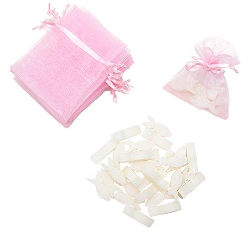 ClassyFine Gastgeschenk für Taufe und Kommunion/Schafmilch-Seife als Fisch mit Organza-Beutel in rosa für 12 Give Aways/passend auch für Konfirmation oder Firmung