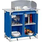 Berger Campingküche Küchenbox, 4 Fächer, blau grau, inkl. Windschutz, Füße höhenverstellbar, Höhe mit Windschutz 108 cm