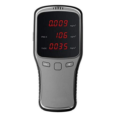 Luftqualität-Messgerät Formaldehyd (HCHO) Detektor PM1 / PM2.5 / PM10 / TVOC Tester Genaues Testen mit Zeitanzeige für USB-Luftverschmutzungserkennung für Außenautos im Freien