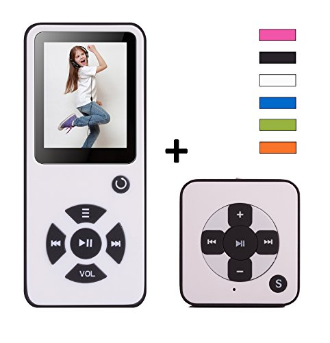 MP3-Player Royal BC01 DUO Pack - 100 Stunden Wiedergabe, Lautsprecher, Kopfhörer, Schrittzähler, Hörbücher, FM Radio, Wecker, mit microSD Kartenslot für bis 128 GB microSD Karten - Mini MP3 Player - Weiß von BERTRONIC