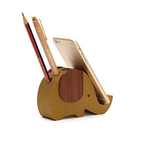 Apsoonsell éléphant Desk Top Organiseur, support de support pour téléphone, cadeaux de Noël, bois, L