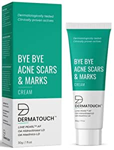 DERMATOUCH Bye Bye Acne Scars & Marks Cream    Acne Scars Corrector    Formulated Specially to Address Scars & Marks    Gives Even Skin Tone    Suitable For All Skin Types - 30G