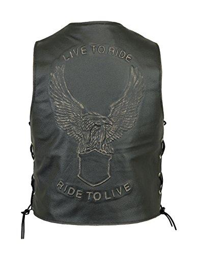 Ride Eagle (Herren Lederweste, Leather Waist Coat Cowhide. Biker Weste-LIVE to Ride Eagle EMBOSE seitlicher Schnürung schwarz schwarz S)