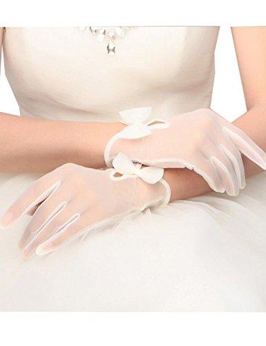 RuiyuhongE Kurz Brauthandschuhe mit Finger Handgelenklänge Hochzeit Handschuhe mit Schleife (Ivory 2)