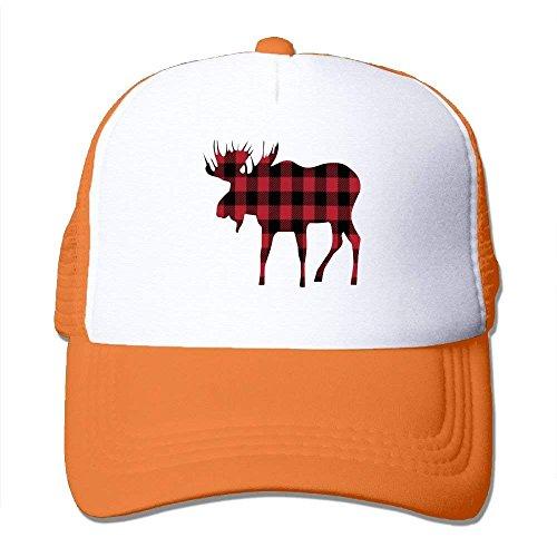 Miedhki Buffalo Plaid Moose Lumberjack Style Mesh Trucker Caps/Hats Adjustable for Unisex C8 - Buffalo Fitted T-shirt