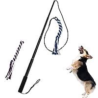 Jouet interactif de remorqueur de chien, baguette magique extensible de Teaser avec le jouet de queue de corde à mâcher de corde de coton 2 pour la formation et l'exercice d'obéissance d'amusement