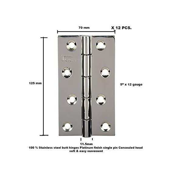 100% Stainless Steel Premium Single Pin CONCEALED Hinge (Platinum Finish, Pack of 12, 125mm x 250PT) Lubrication Inside with Concealed Heads, SSiSKCON BRAND