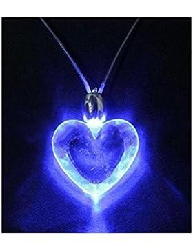 Partyhalskette Leuchtet Blau Extravagant Anhänger und Kette (Herzform)