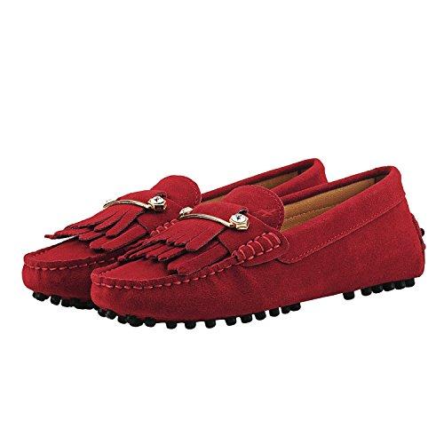 Shenduo Città Pelle Di Mocassini Coloratissimi Da D7066 Scarpe Donna Mocassini Barca Comodità Rosso Classico rwqZHr